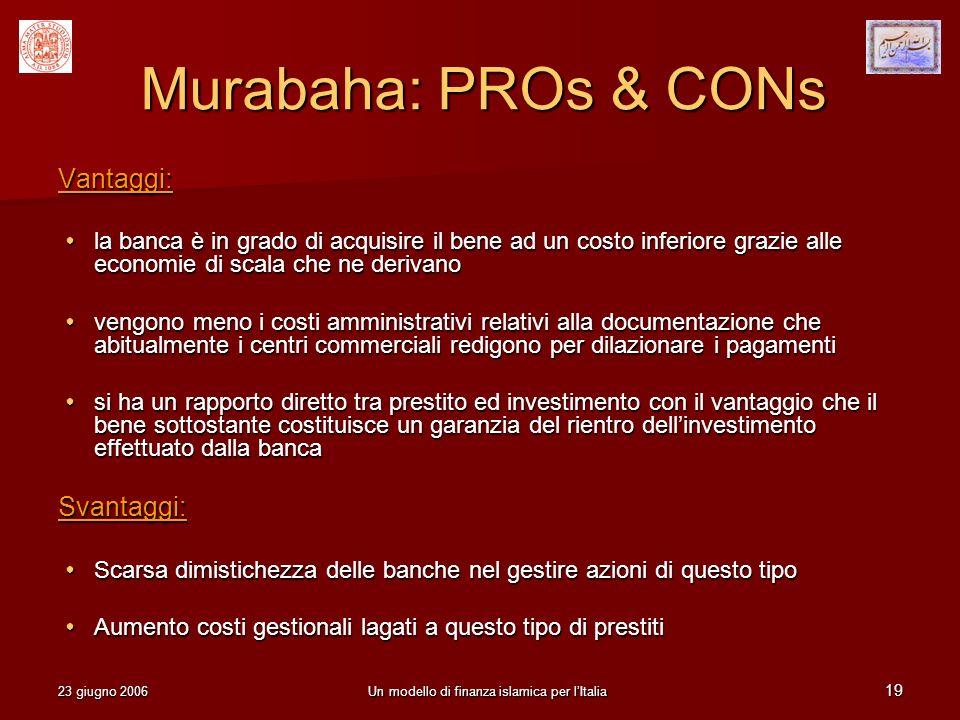 23 giugno 2006Un modello di finanza islamica per lItalia 19 Murabaha: PROs & CONs Vantaggi: la banca è in grado di acquisire il bene ad un costo infer