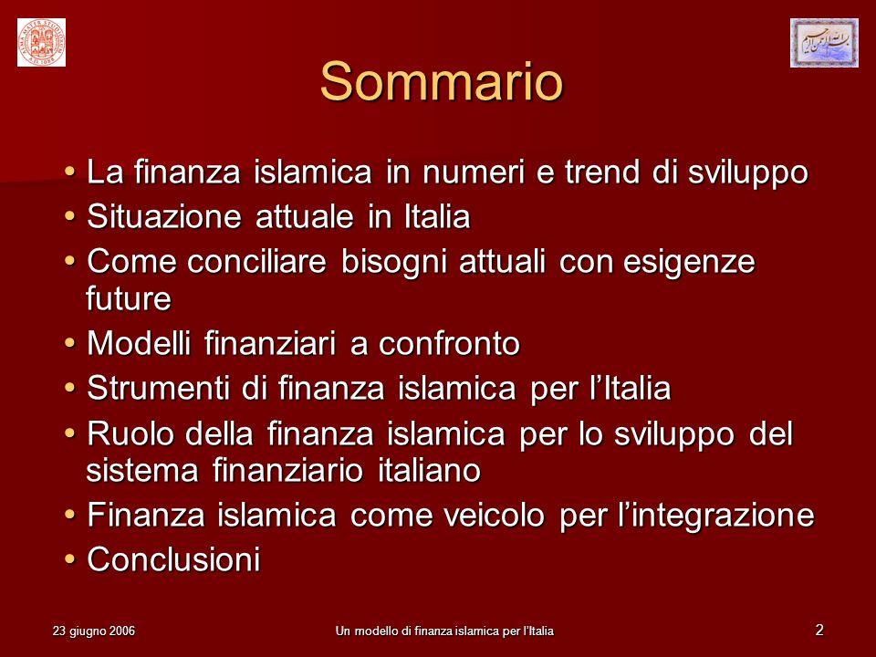 23 giugno 2006Un modello di finanza islamica per lItalia 2 Sommario La finanza islamica in numeri e trend di sviluppo La finanza islamica in numeri e