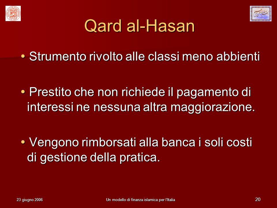 23 giugno 2006Un modello di finanza islamica per lItalia 20 Qard al-Hasan Strumento rivolto alle classi meno abbienti Strumento rivolto alle classi me