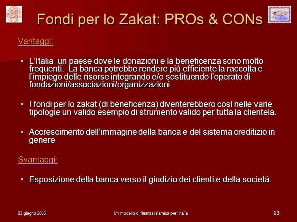 23 giugno 2006Un modello di finanza islamica per lItalia 23 Fondi per lo Zakat: PROs & CONs Vantaggi: LItalia un paese dove le donazioni e la benefice
