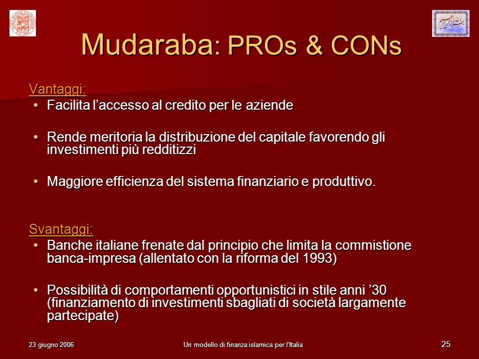 23 giugno 2006Un modello di finanza islamica per lItalia 25 Mudaraba : PROs & CONs Vantaggi: Facilita laccesso al credito per le aziende Facilita lacc