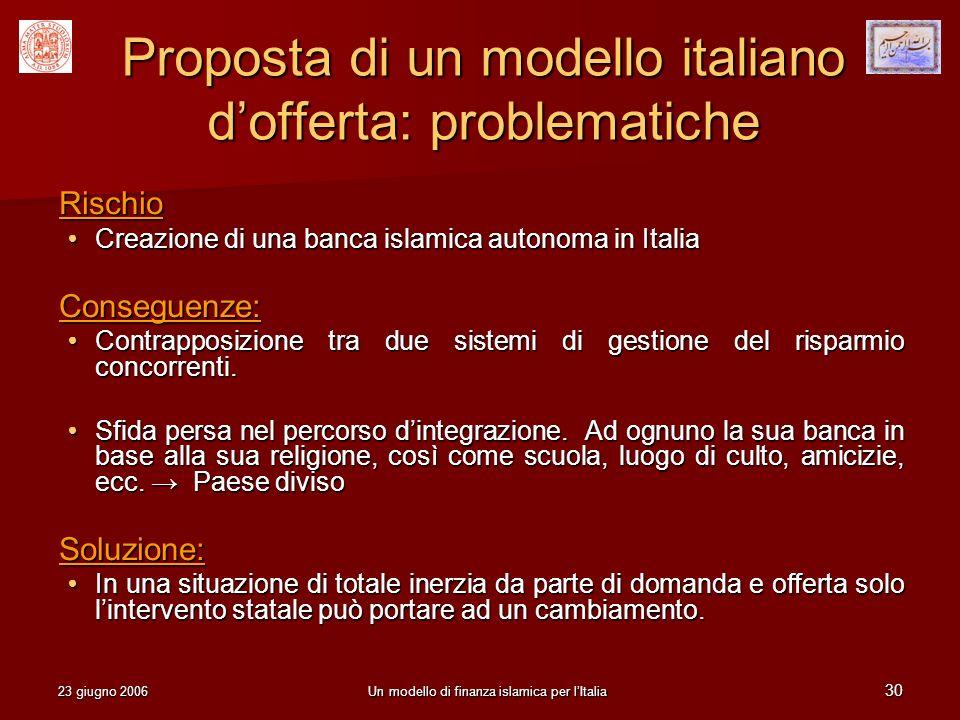 23 giugno 2006Un modello di finanza islamica per lItalia 30 Proposta di un modello italiano dofferta: problematiche Rischio Creazione di una banca isl