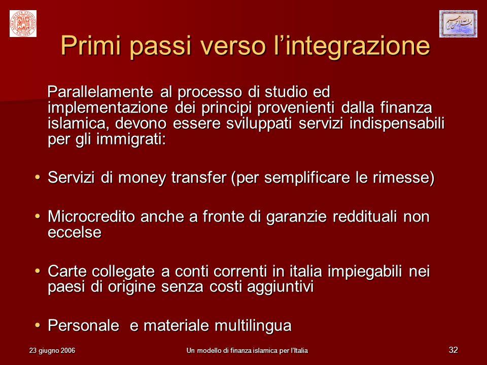 23 giugno 2006Un modello di finanza islamica per lItalia 32 Primi passi verso lintegrazione Parallelamente al processo di studio ed implementazione de