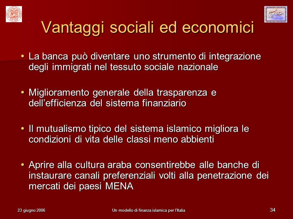 23 giugno 2006Un modello di finanza islamica per lItalia 34 Vantaggi sociali ed economici La banca può diventare uno strumento di integrazione degli i