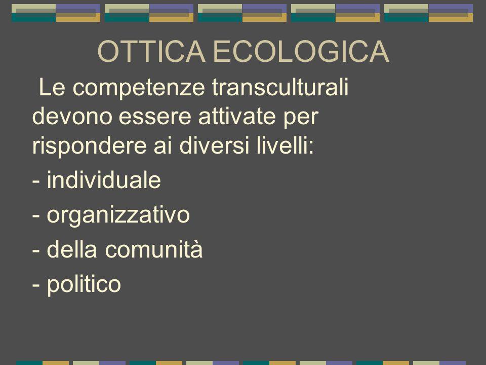 OTTICA ECOLOGICA Le competenze transculturali devono essere attivate per rispondere ai diversi livelli: - individuale - organizzativo - della comunità