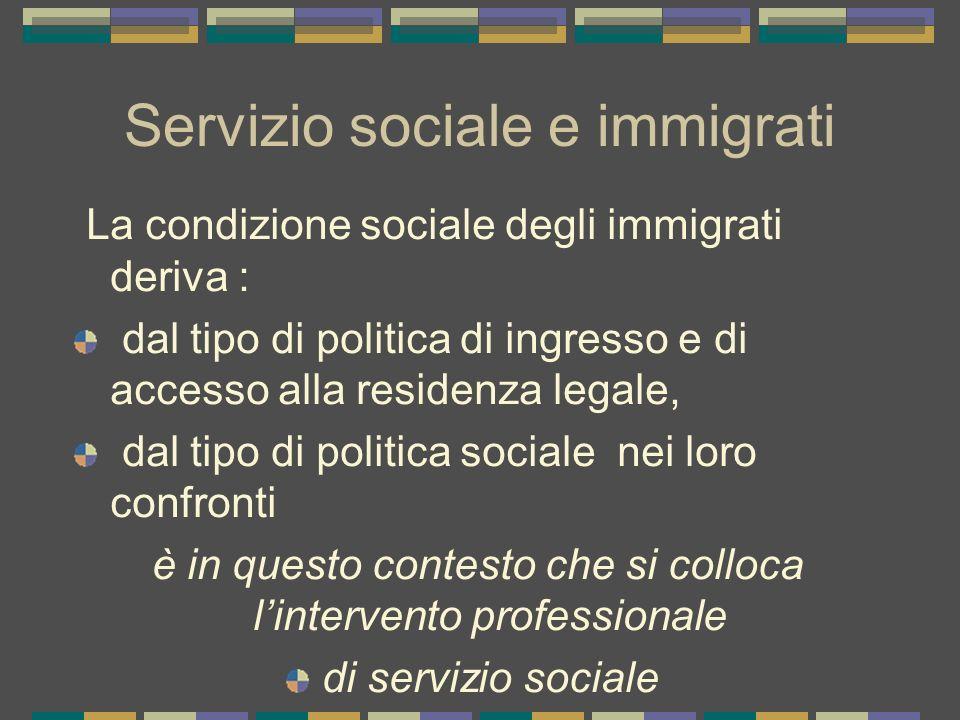 Servizio sociale e immigrati La condizione sociale degli immigrati deriva : dal tipo di politica di ingresso e di accesso alla residenza legale, dal t