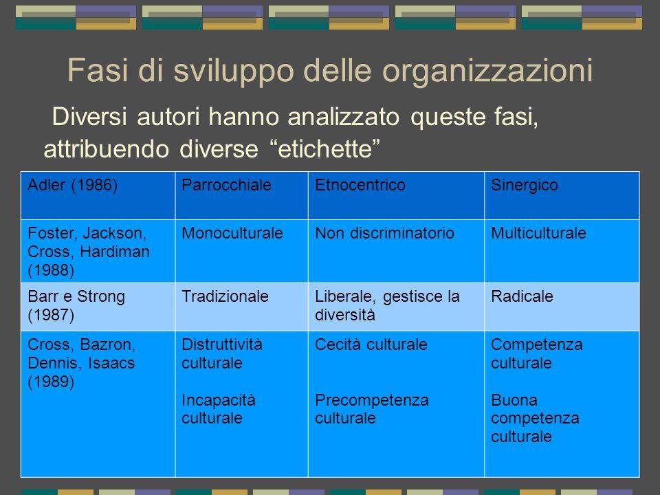 Fasi di sviluppo delle organizzazioni Diversi autori hanno analizzato queste fasi, attribuendo diverse etichette Adler (1986)ParrocchialeEtnocentricoS