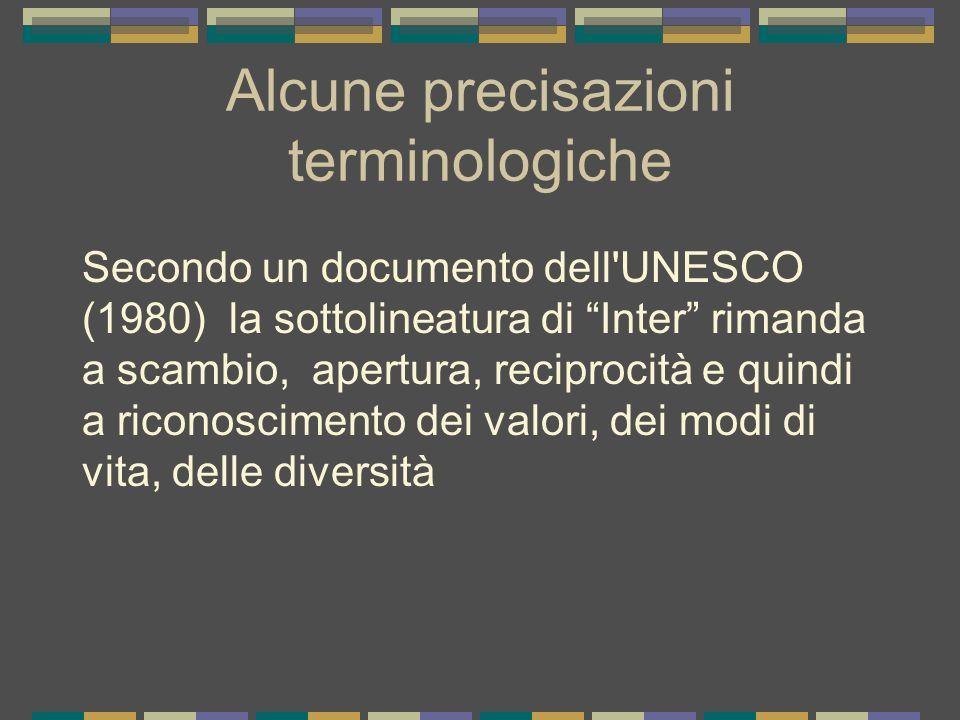 Alcune precisazioni terminologiche Secondo un documento dell'UNESCO (1980) la sottolineatura di Inter rimanda a scambio, apertura, reciprocità e quind