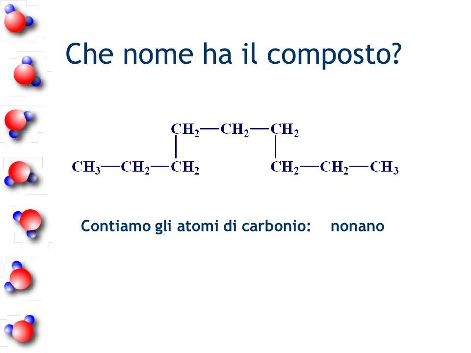 Che nome ha il composto? Contiamo gli atomi di carbonio: nonano