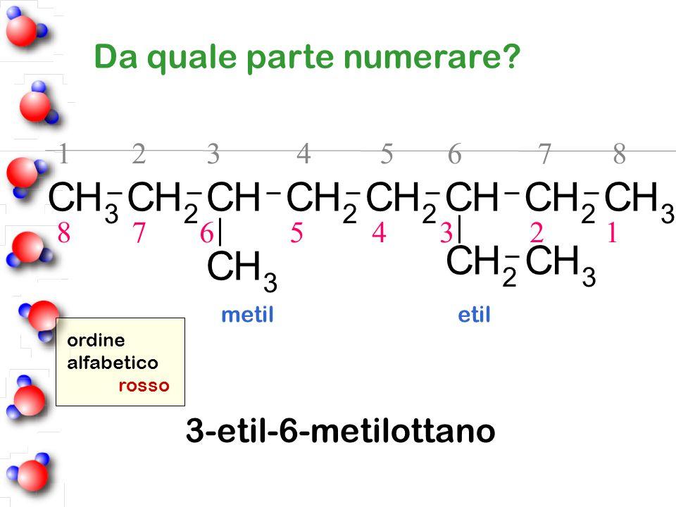Da quale parte numerare? 1 2 3 4 5 6 7 8 8 7 6 5 4 3 2 1 ordine alfabetico rosso metil etil 3-etil-6-metilottano CH 3 CH 2 CHCH 2 CH 2 CHCH 2 CH 3 HC