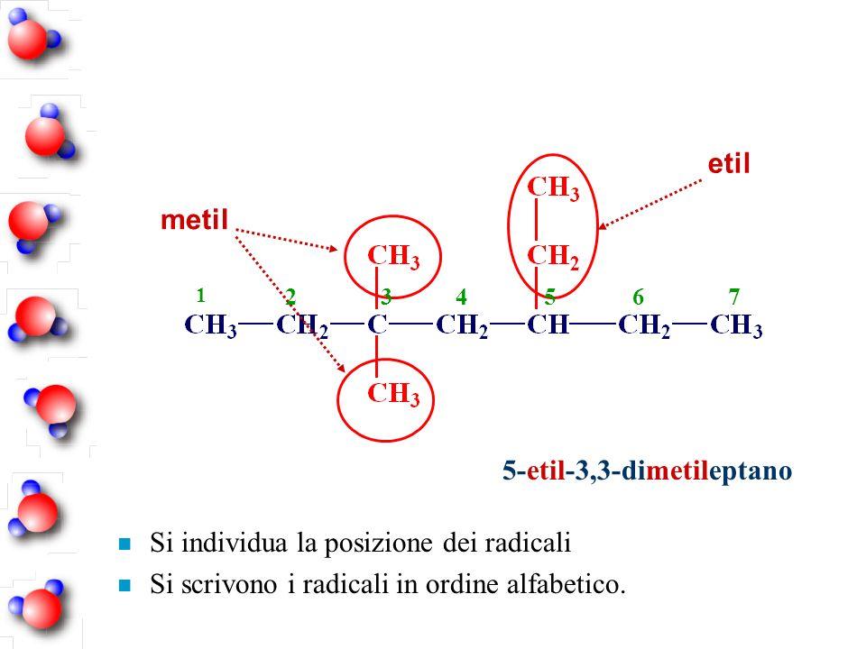 5-etil-3,3-dimetileptano n Si individua la posizione dei radicali n Si scrivono i radicali in ordine alfabetico. metil etil 1 234567
