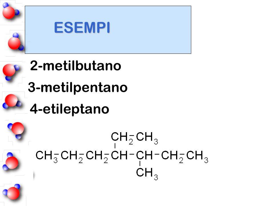 ESEMPI 2-metilbutano 3-metilpentano 4-etileptano