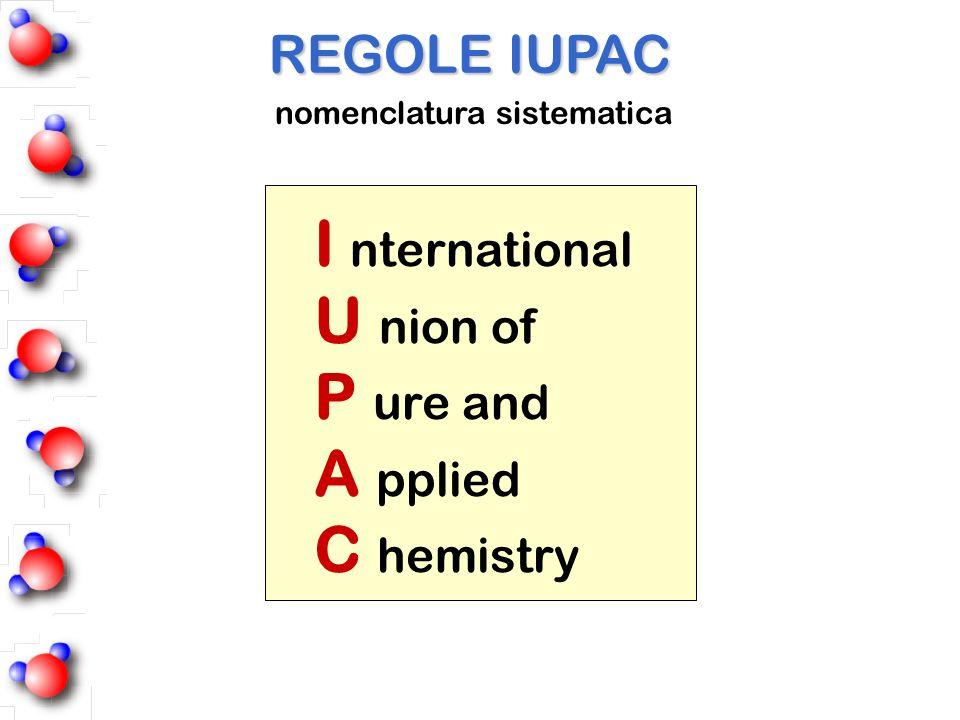 I nternational U nion of P ure and A pplied C hemistry REGOLE IUPAC nomenclatura sistematica