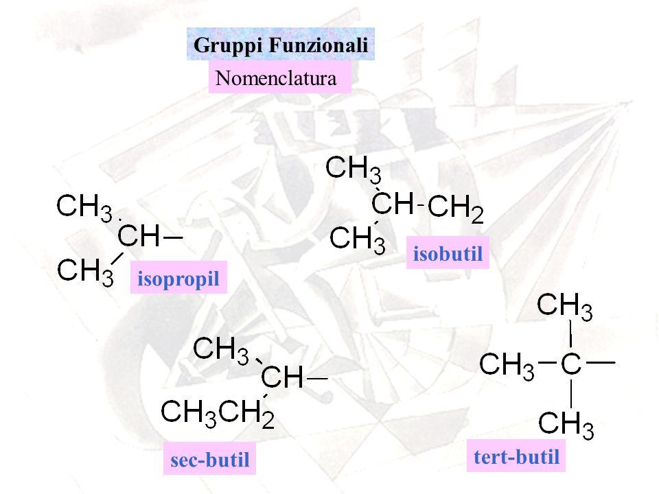 Gruppi Funzionali Nomenclatura isopropil tert-butil isobutil sec-butil
