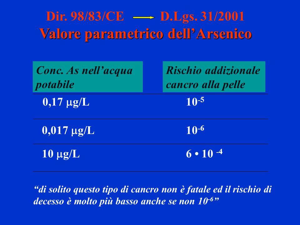 Dir. 98/83/CE D.Lgs. 31/2001 Valore parametrico dellArsenico 0,17 g/L10 -5 0,017 g/L 10 -6 10 g/L6 10 -4 Rischio addizionale cancro alla pelle Conc. A