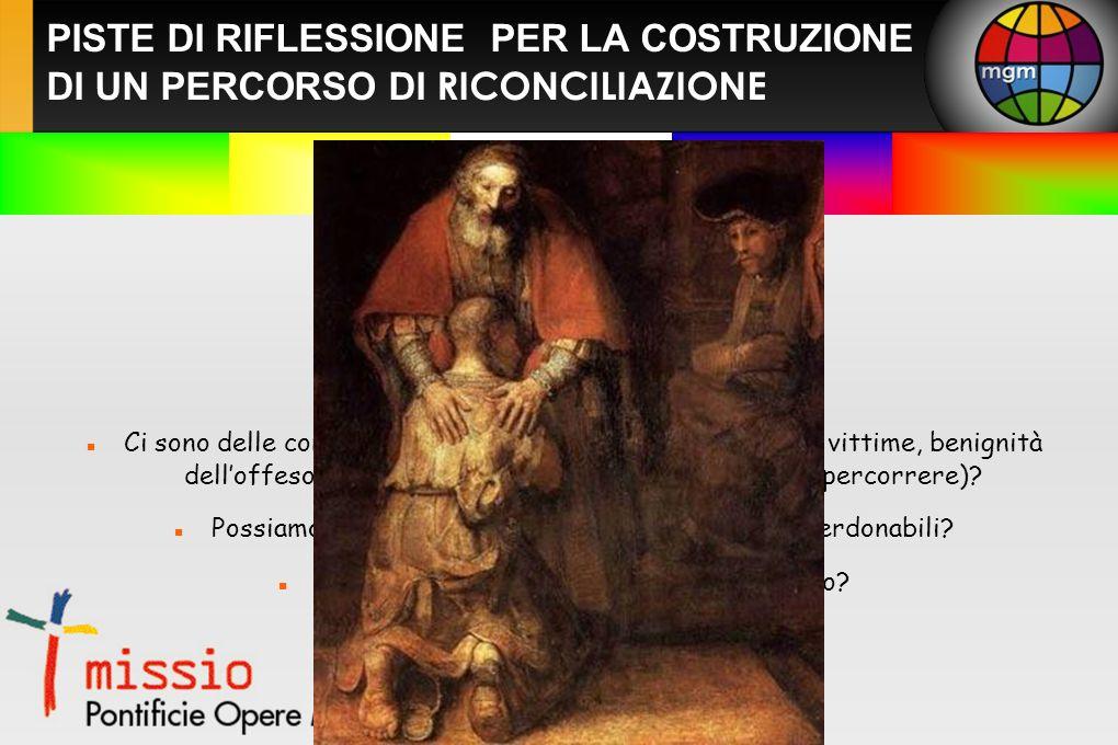 PISTE DI RIFLESSIONE PER LA COSTRUZIONE DI UN PERCORSO DI RICONCILIAZIONE Cosa significa la parola perdono.