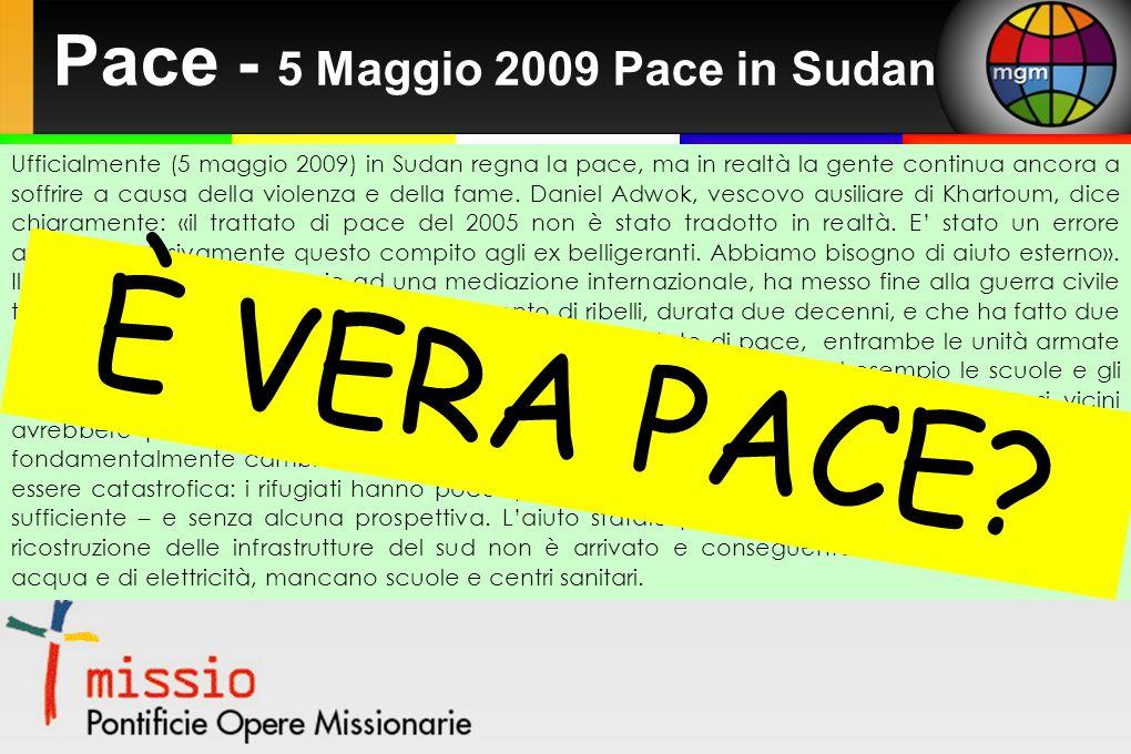 Pace - 5 Maggio 2009 Pace in Sudan Ufficialmente (5 maggio 2009) in Sudan regna la pace, ma in realtà la gente continua ancora a soffrire a causa della violenza e della fame.