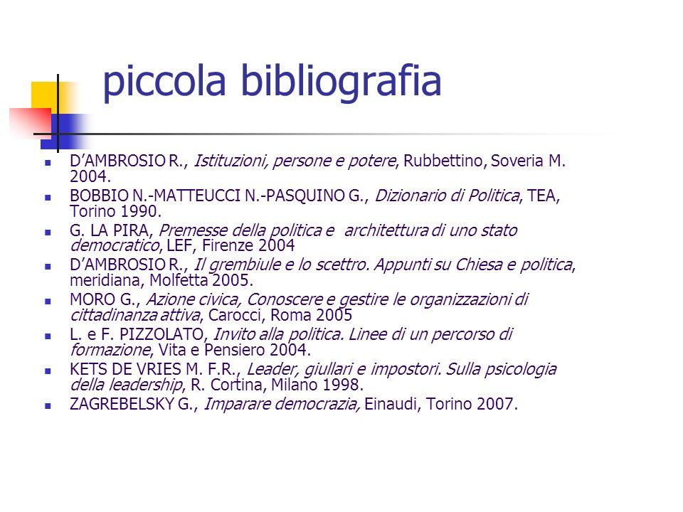 piccola bibliografia DAMBROSIO R., Istituzioni, persone e potere, Rubbettino, Soveria M. 2004. BOBBIO N.-MATTEUCCI N.-PASQUINO G., Dizionario di Polit