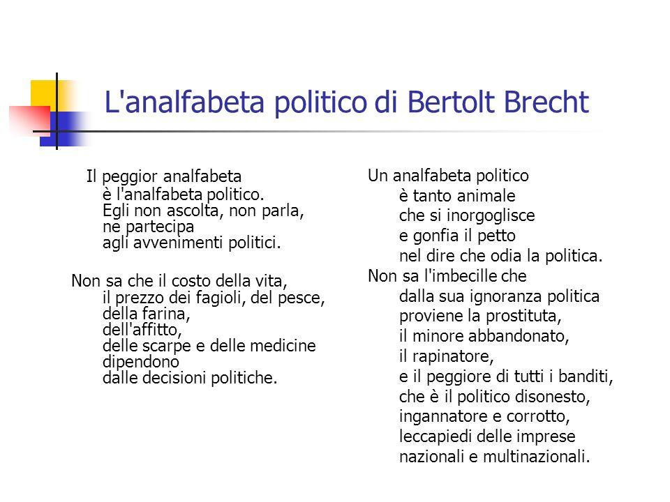 L'analfabeta politico di Bertolt Brecht Il peggior analfabeta è l'analfabeta politico. Egli non ascolta, non parla, ne partecipa agli avvenimenti poli
