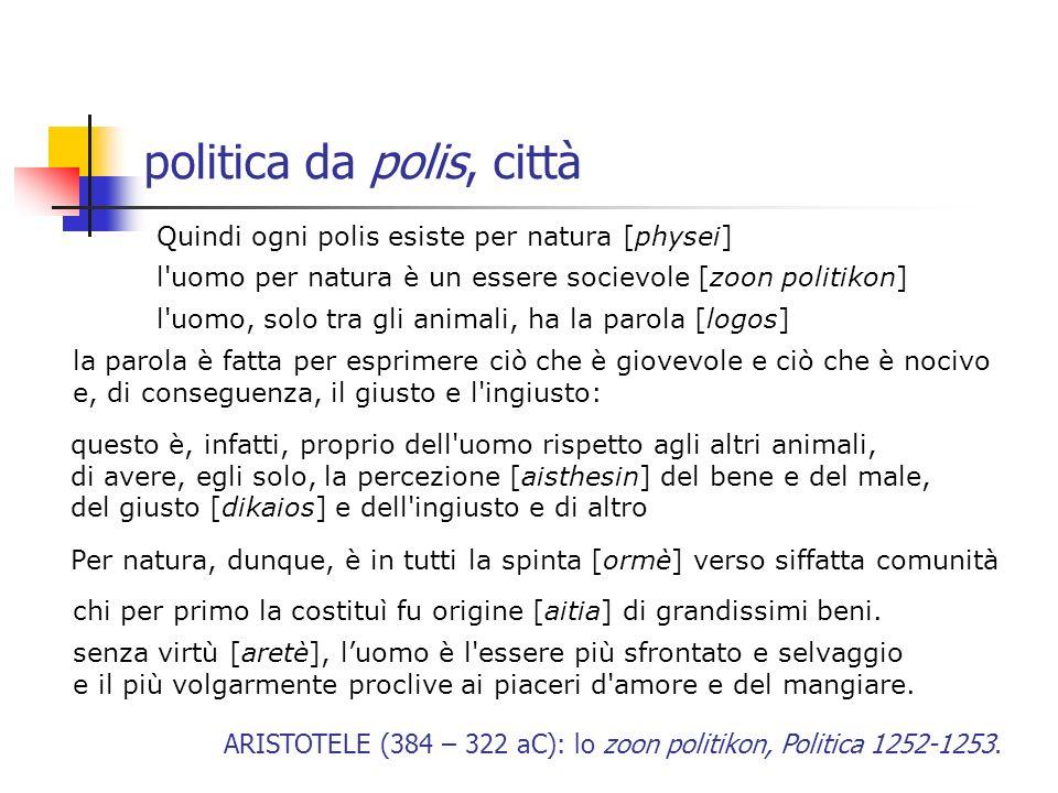 politica da polis, città Quindi ogni polis esiste per natura [physei] l'uomo per natura è un essere socievole [zoon politikon] l'uomo, solo tra gli an
