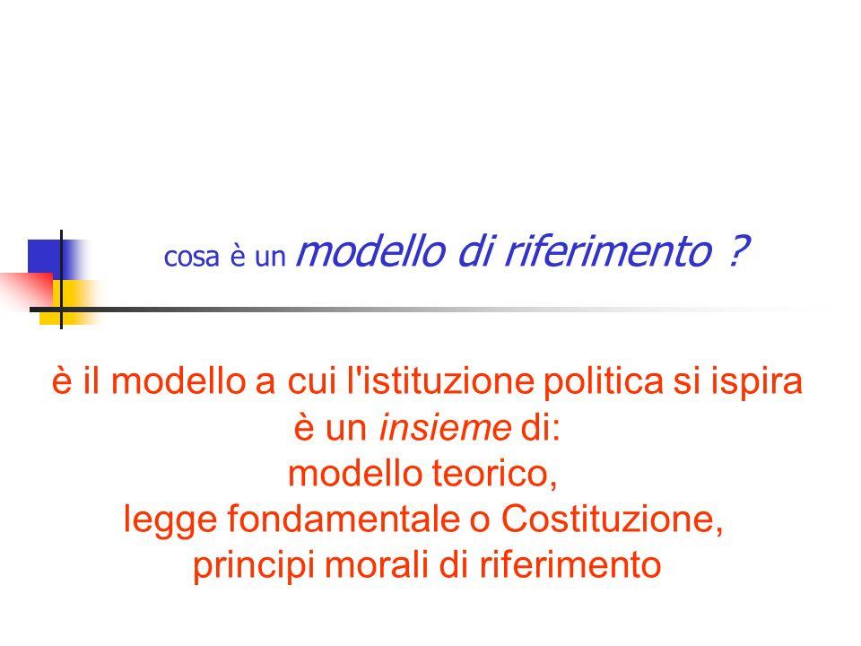 cosa è un modello di riferimento ? è il modello a cui l'istituzione politica si ispira è un insieme di: modello teorico, legge fondamentale o Costituz
