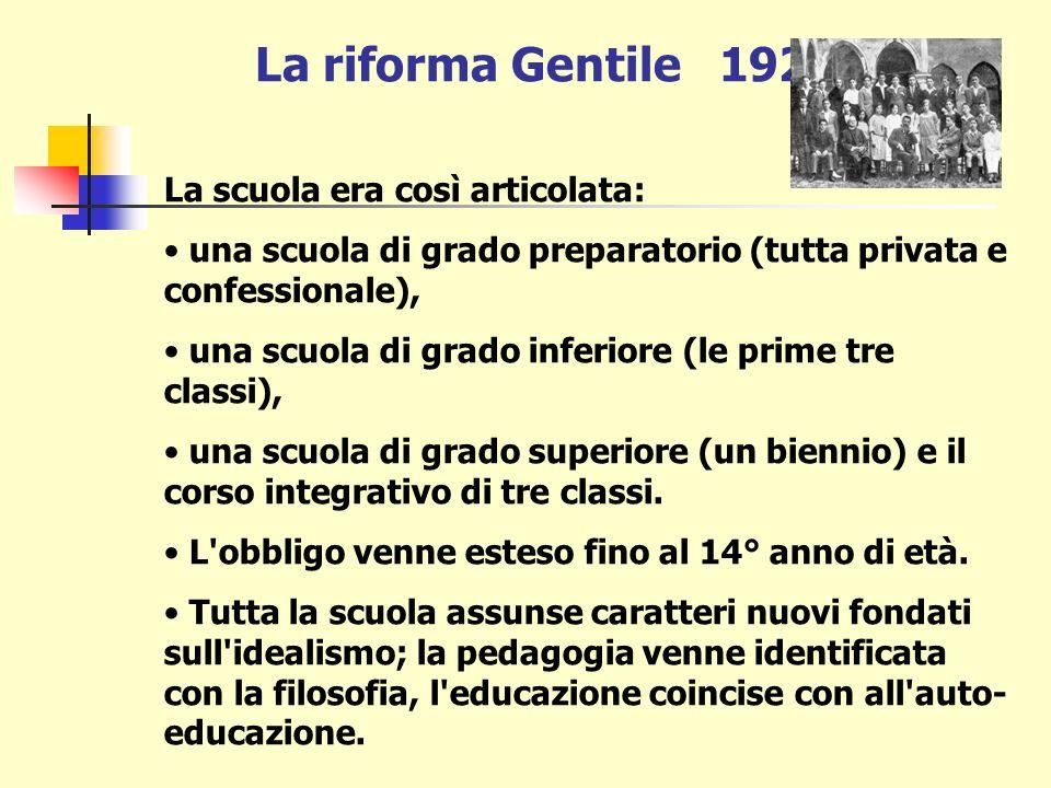 La riforma Gentile 1923 C o n c e t t o c h i a v e :