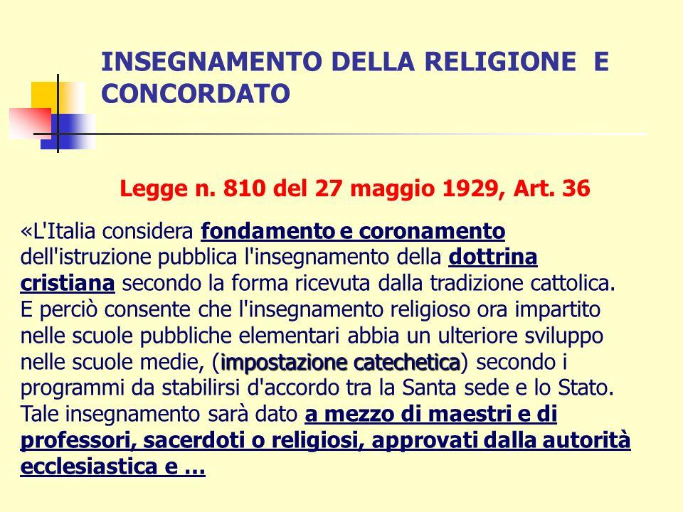 PATTI LATERANENSI 1929 Nel 1929 il Concordato riprende la formula della riforma Gentile: linsegnamento religioso come fondamento e coronamento e lo es