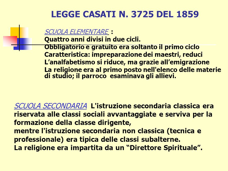 Legge Casati 1859 il problema dellanalfabetismo affida ai Comuni lobbligo di istituire le scuole, con nomina e retribuzione dei maestri Atto di nascit