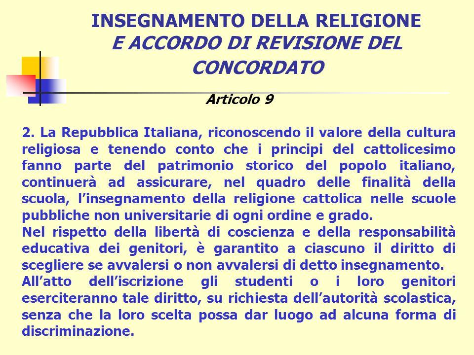 INSEGNAMENTO DELLA RELIGIONE E ACCORDO DI REVISIONE DEL CONCORDATO Legge 25 marzo 1985, n. 121