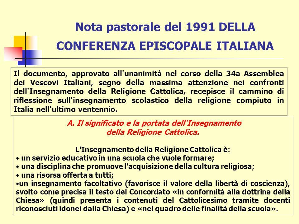INSEGNAMENTO DELLA RELIGIONE E NORME DI DIRITTO CANONICO Canone 804: § 1.