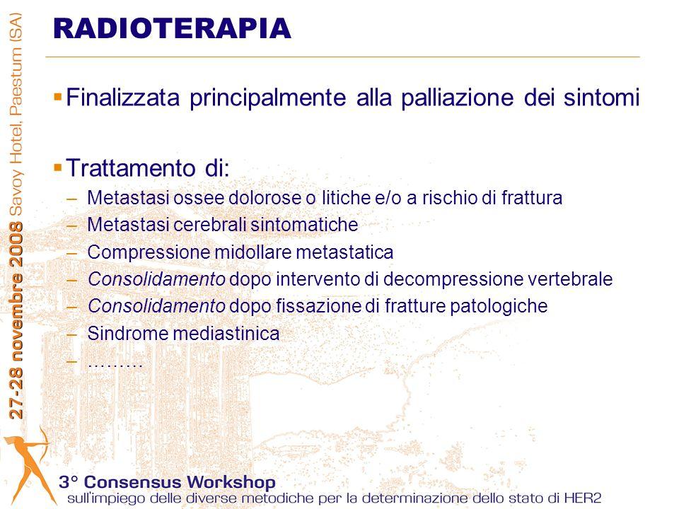 Finalizzata principalmente alla palliazione dei sintomi Trattamento di: –Metastasi ossee dolorose o litiche e/o a rischio di frattura –Metastasi cereb