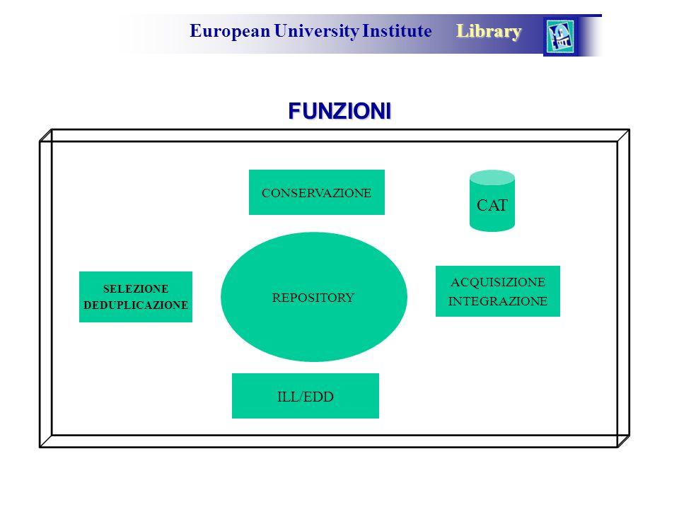 Library European University Institute Library FUNZIONI REPOSITORY ACQUISIZIONE INTEGRAZIONE CONSERVAZIONE ILL/EDD SELEZIONE DEDUPLICAZIONE CAT