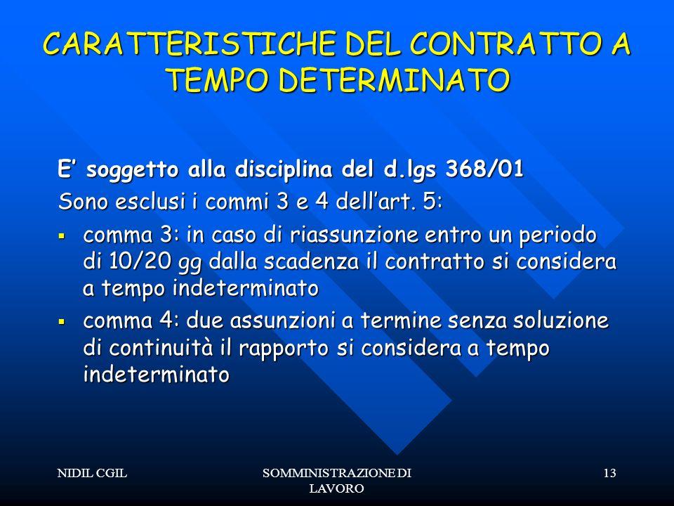 NIDIL CGILSOMMINISTRAZIONE DI LAVORO 13 CARATTERISTICHE DEL CONTRATTO A TEMPO DETERMINATO E soggetto alla disciplina del d.lgs 368/01 Sono esclusi i commi 3 e 4 dellart.