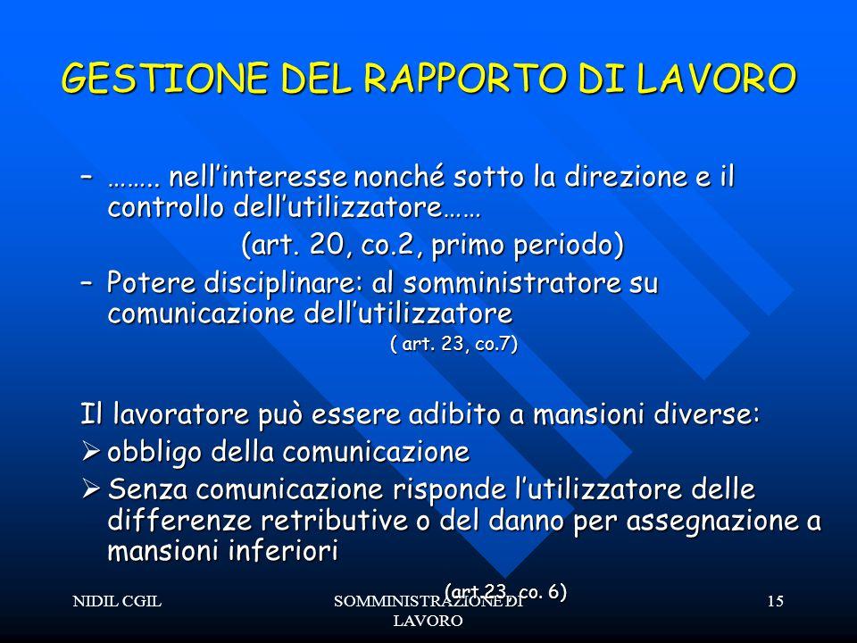 NIDIL CGILSOMMINISTRAZIONE DI LAVORO 15 GESTIONE DEL RAPPORTO DI LAVORO –……..