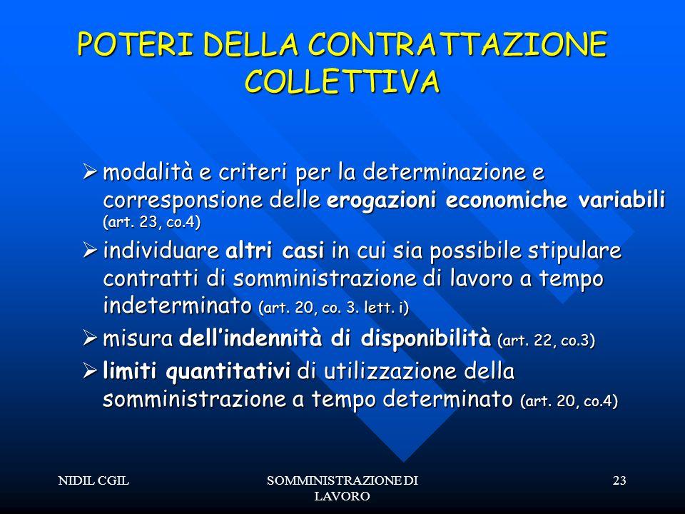 NIDIL CGILSOMMINISTRAZIONE DI LAVORO 23 POTERI DELLA CONTRATTAZIONE COLLETTIVA modalità e criteri per la determinazione e corresponsione delle erogazioni economiche variabili (art.