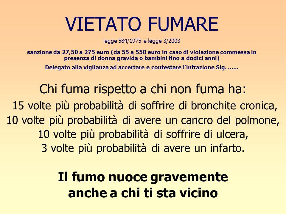 VIETATO FUMARE legge 584/1975 e legge 3/2003 sanzione da 27,50 a 275 euro (da 55 a 550 euro in caso di violazione commessa in presenza di donna gravid
