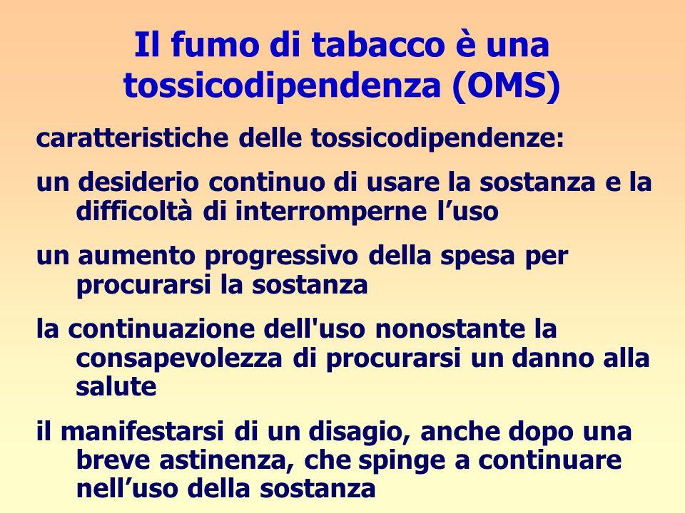 Il fumo di tabacco è una tossicodipendenza (OMS) caratteristiche delle tossicodipendenze: un desiderio continuo di usare la sostanza e la difficoltà d