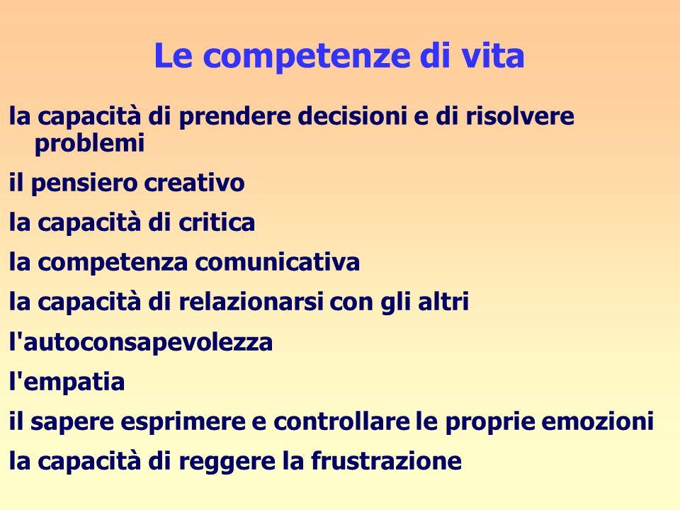 Le competenze di vita la capacità di prendere decisioni e di risolvere problemi il pensiero creativo la capacità di critica la competenza comunicativa