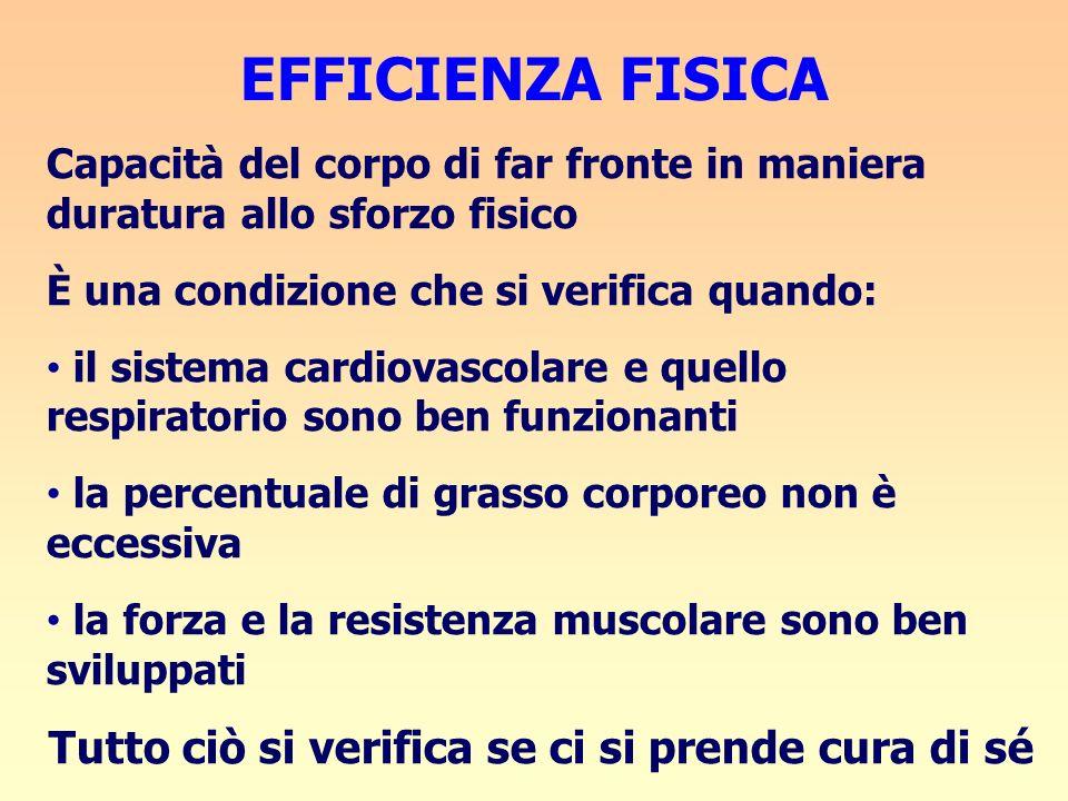 EFFICIENZA FISICA Capacità del corpo di far fronte in maniera duratura allo sforzo fisico È una condizione che si verifica quando: il sistema cardiova
