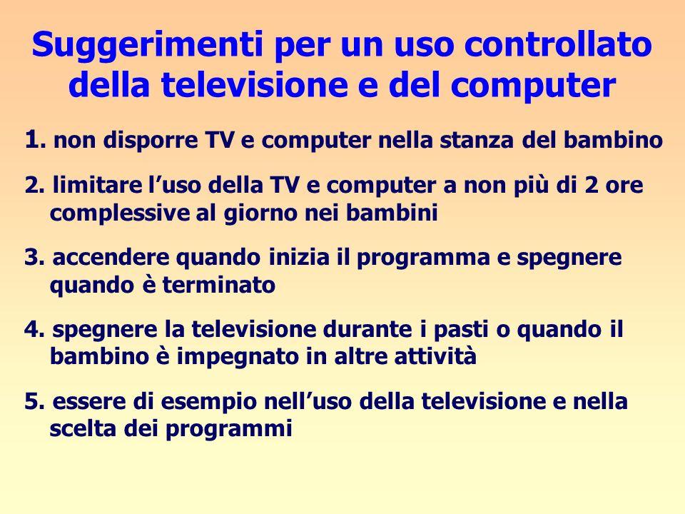Suggerimenti per un uso controllato della televisione e del computer 1. non disporre TV e computer nella stanza del bambino 2. limitare luso della TV