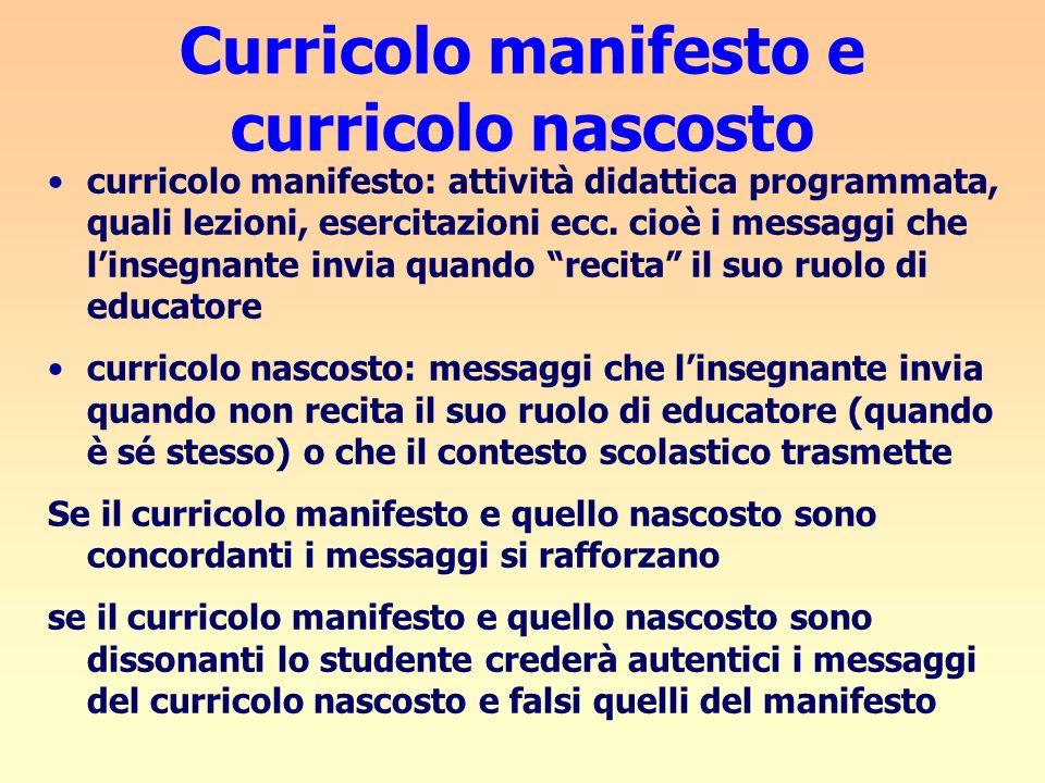 Curricolo manifesto e curricolo nascosto curricolo manifesto: attività didattica programmata, quali lezioni, esercitazioni ecc. cioè i messaggi che li