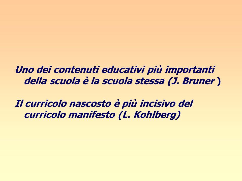Uno dei contenuti educativi più importanti della scuola è la scuola stessa (J. Bruner ) Il curricolo nascosto è più incisivo del curricolo manifesto (