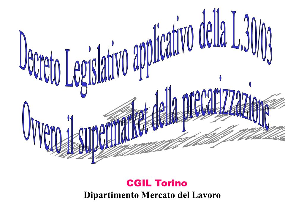 Decreto legislativo applicativo L.30/03 In materia di occupazione e lavoro Art.3.