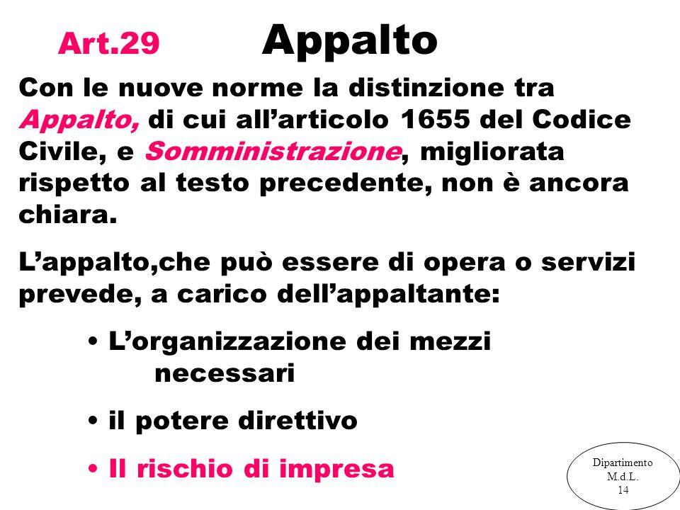 Art.29 Appalto Con le nuove norme la distinzione tra Appalto, di cui allarticolo 1655 del Codice Civile, e Somministrazione, migliorata rispetto al te