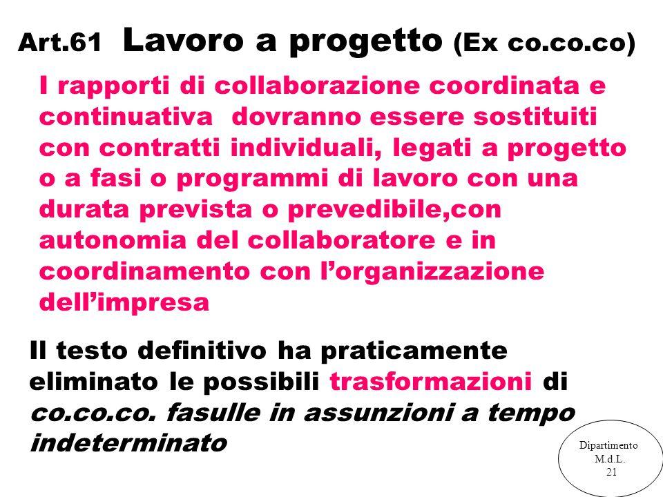 Art.61 Lavoro a progetto (Ex co.co.co) I rapporti di collaborazione coordinata e continuativa dovranno essere sostituiti con contratti individuali, le