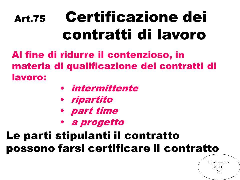 Art.75 Certificazione dei contratti di lavoro Al fine di ridurre il contenzioso, in materia di qualificazione dei contratti di lavoro: intermittente ripartito part time a progetto Le parti stipulanti il contratto possono farsi certificare il contratto Dipartimento M.d.L.