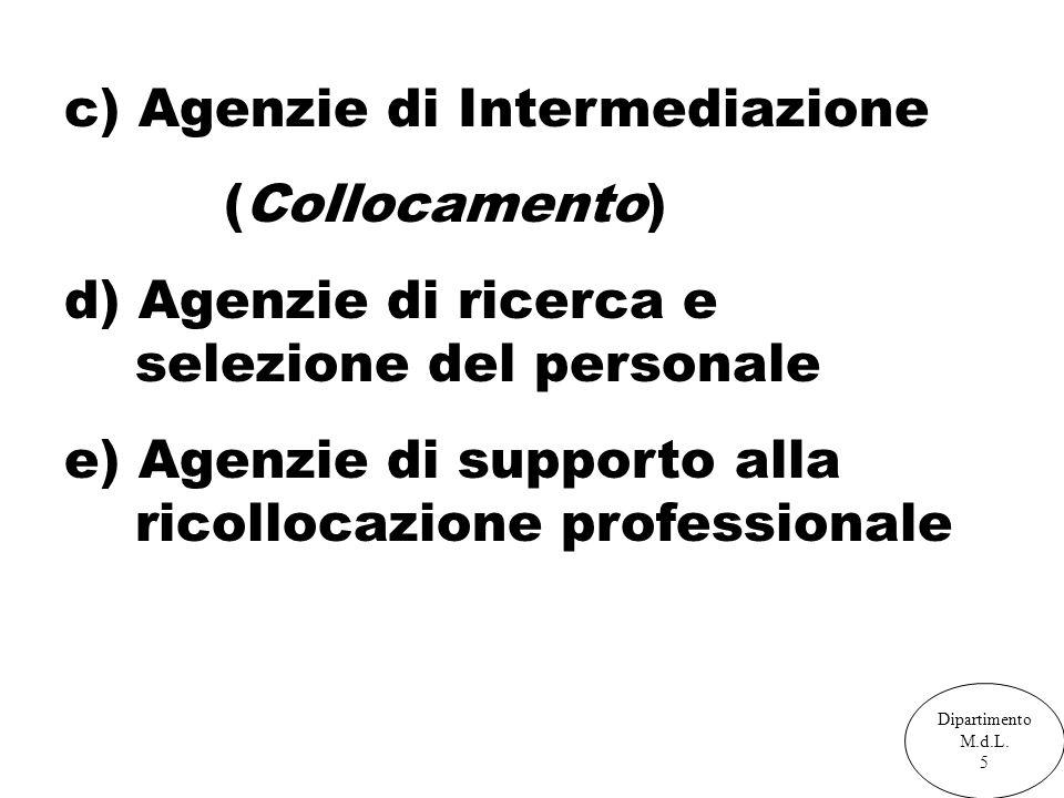 c) Agenzie di Intermediazione (Collocamento) d) Agenzie di ricerca e selezione del personale e) Agenzie di supporto alla ricollocazione professionale Dipartimento M.d.L.