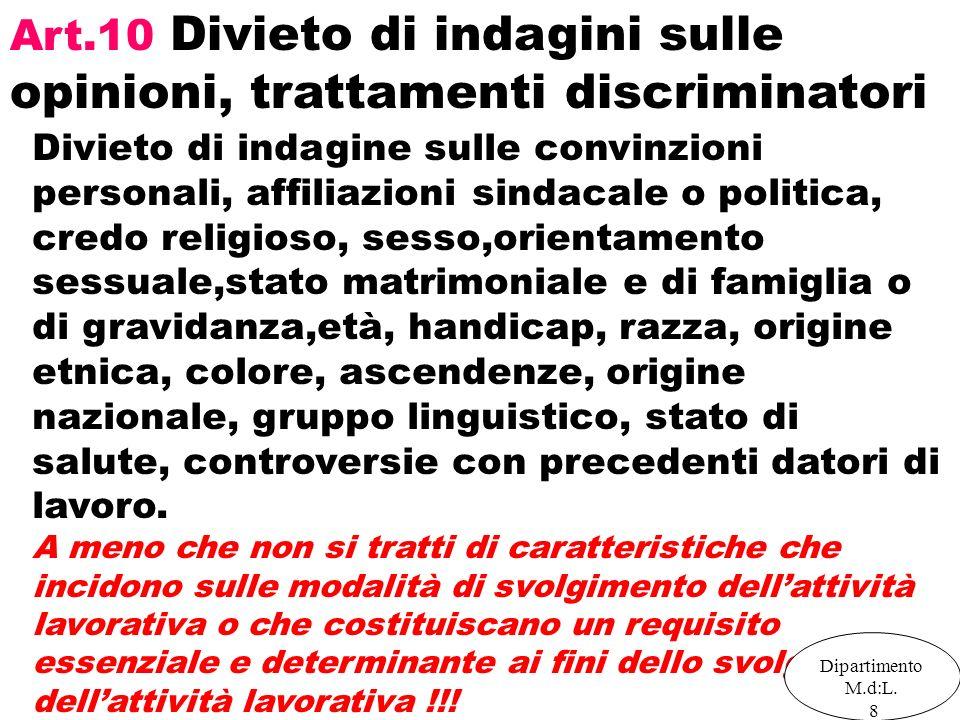 Art.10 Divieto di indagini sulle opinioni, trattamenti discriminatori Divieto di indagine sulle convinzioni personali, affiliazioni sindacale o politi