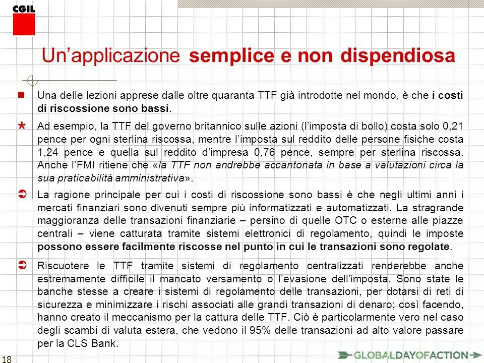 18 Unapplicazione semplice e non dispendiosa Una delle lezioni apprese dalle oltre quaranta TTF già introdotte nel mondo, è che i costi di riscossione sono bassi.