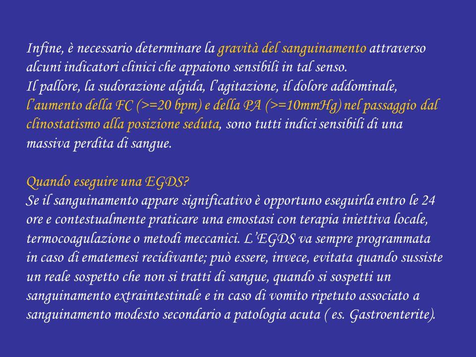 Infine, è necessario determinare la gravità del sanguinamento attraverso alcuni indicatori clinici che appaiono sensibili in tal senso. Il pallore, la